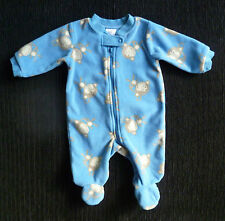 Baby clothes BOY newborn 0-1m monkey blue/beige zip fleecy sleepsuit SEE SHOP!