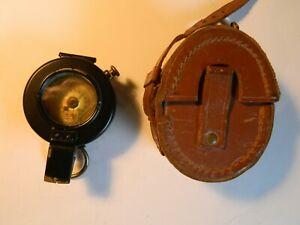 Prismatic marching compass Francis Barker Mk III and leather pouch