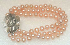 """3 Rows 7-8mm Genuine Pink Pearl White Gold Plated Shell Flower Clasp Bracelet 8"""""""