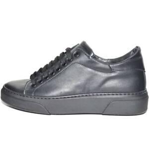 Sneakers bassa uomo invernale in vera pelle vitello nero fondo cruelty nero line