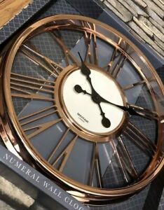 New Large 40Cm Copper Rose Gold Large Numeral Station Wall Clock Kitchen Office