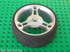 Roue LEGO TECHNIC MetallicSilver wheel 28 x 70 ref 32077  Tyre 32078 / 8462 8432