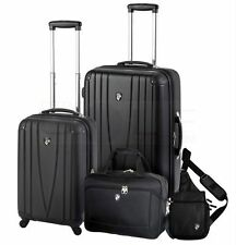 New HEYS Luggage 4-Piece Black Flight Rolling Travel Set w/ Sling Laptop Bags