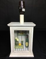 "Shadow Box Style Table Lamp Champagne Wine Book Art 13"" Country White Distressed"