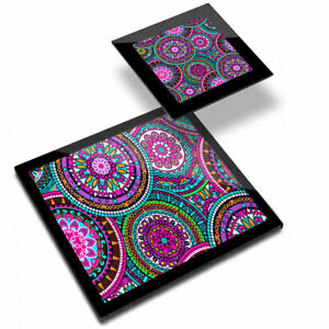 Glass Placemat  & Coaster - Purple Mandala Mosaic Pretty  #2357