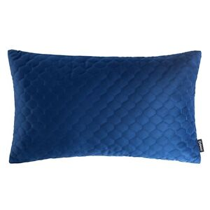 Quilted Velvet Oblong Cushion Navy Blue Rectangle Lumbar Case Sofa Cover 12 x 20