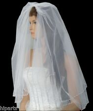Elegant 2-Tier Wedding Bridal White Elbow Length Veil Beaded Edge  With Comb