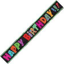 Infinite Happy Birthday Foil Banner Black & Multi-colour 3.6m (12')  . 23693