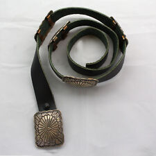 Vintage 36 Inch Long Black Leather Sterling Silver Concho Belt - Unsigned