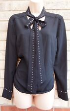 BLACK SILVER DIAMONTE BEADED STUDDED TIE NECK LONG SLEEVE BLOUSE T SHIRT TOP 12