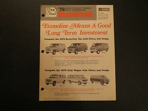 1975 FORD ECONOLINE MEANS A GOOD LONG TERM INVESTMENT DEALER NEWSFLASH BROCHURE