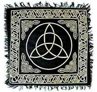 "18""x18"" Gold on Black Triquetra Altar Cloth!"
