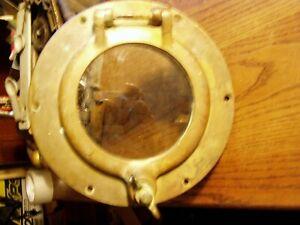 """Antique/Vintage Ship Bronze Porthole 9"""" Round 4 7/8"""" window Nice Patina"""