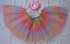 Rainbow Tutu Skirt Ballet Dance Tulle Girl + Headband