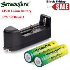 2pcs 14500 3.7V 1200mAH BRC Lithium Rechargeable Li-ion Battery + Smart Charger