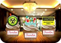 Quarantine Birthday Trio Mix 12 Edible STANDUP Cake Toppers Decoration Humour