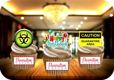 Quarantine Birthday Trio Mix 12 Edible STANDUP Cake Toppers Decoration Humour
