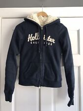 Hollister Blue Faux Fur Lined Full Zip Hoodie Womens Junior Size Small