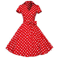 SALE Womens Vintage Polka Dot 50's ROCKABILLY Swing Pin Up Housewife Retro Dress
