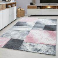 Check Rugs Silver Grey Pink Contour Cut Carpet Modern Geometric Living Room Mats