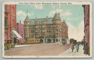 Racine Wisconsin~Monument Square Post Office~Vintage Postcard