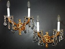 Pair of golden brass vintage wall sconces. Quality lead crystal.