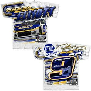Chase Elliott # 9 Nascar 2021 White Men's Total Print Shirt 2-Sided  3XL