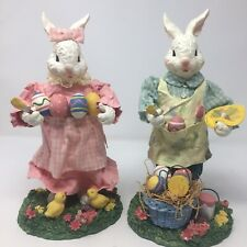 Fabric Mache Spring Easter Bunny Bunnies Figures Male Female Chicks
