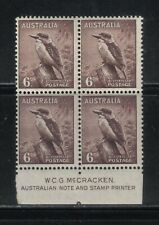 173 Mnh Australia Kookaburra Postage Stamps Margin Inscription Block of 4 1942