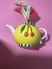 Mary Engelbreit Mini Miniature TeaPot Christmas Ornament Yellow with Cherries