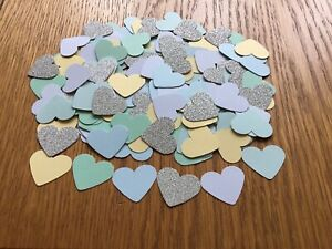 Shades Of Blue, Green And Yellow Heart Embellishments