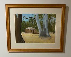 "Amelia Nufer Framed Original Oil Painting ""untitled"" Stone Cottage in Bush"