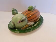 Rare Gump's 2 Piece Majolica PIG Hand Painted Covered Butter Dish Made in ITALY