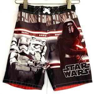 Disney Star Wars Swim Trunks S Darth Vader Storm Troopers Black Red Boys Lined