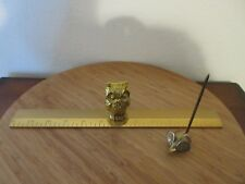 """SOLID BRASS OWL STANDING ON 12"""" RULER & BRASS MOUSE NOTE RECEIPT HOLDER *SET TWO"""