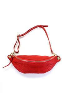 Suncoo Womens Leather Snakeskin Print Medium Sac Adriel Belt Bag Red