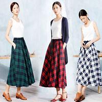 Women's Winter/Autumn Plus Size Plaids/Check Retro A-Line Long Maxi Full Skirt