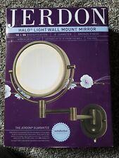 "Jerdon lighted makeup mirror 8"" diameter Bronze Finish 360° swivel Niob"