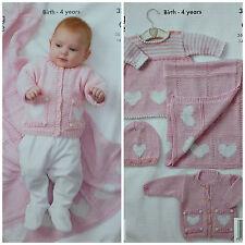 KNITTING PATTERN Baby Hearts Layette Set & Blanket DK King Cole 3317