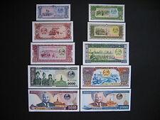 LAOS  1 + 5 + 10 + 20 + 50 + 100 + 500 + 1000 + 2000 + 5000 Kip 1979 - 2003  UNC