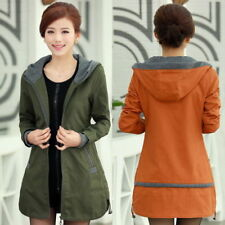 women's Spring long hooded stitching Windbreaker jackets coats outerwear XS-XXXL