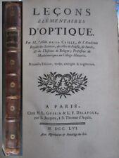 Leçons élémentaires d'optique + traité de perspective Abbé de la Caille 1756