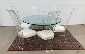 Mid-Century Lucite and Glass Dining set , 6 chairs