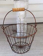 Primitive Rusty Wire Egg Basket Wood Handle Farmhouse Decor
