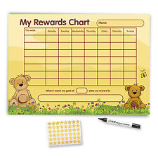 Reward Chart A3 with FREE Stickers and Pen - Beige Teddy Bear Design