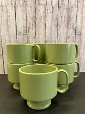 Vtg Unbranded MELAMINE Mugs Cups Coffee Pedestal Green Footed MCM 7