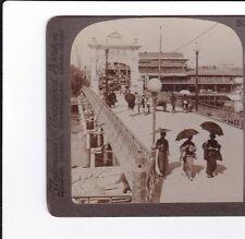 JAPAN, KYOTO  Real Photo Stereoview c.1900s  SHIJO BRIDGE
