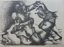 "OSSIP ZADKINE "" The boar of Erymanthos "" Hand signed LITHOGRAPH Russian/French"