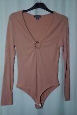 Primark Ladies Pink Long Sleeve Bodysuit Uk Size 10-12