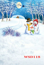 Christmas Snowman Backdrop Photography Prop Studio Background Vinyl 5X7FT WSD118
